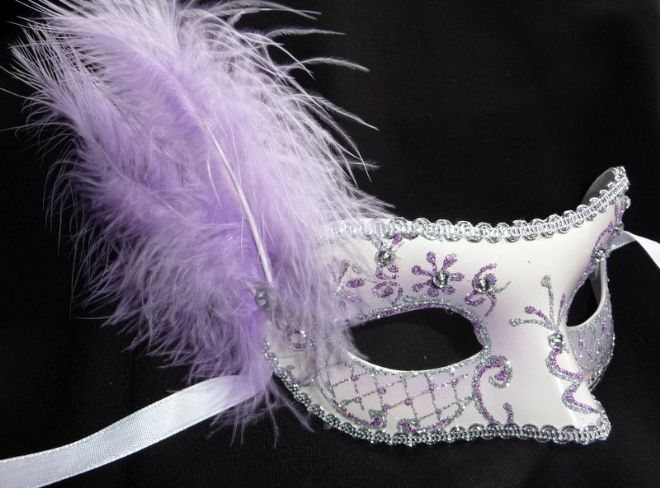 Lilac jewelled glitter feather Petite Mask (a)